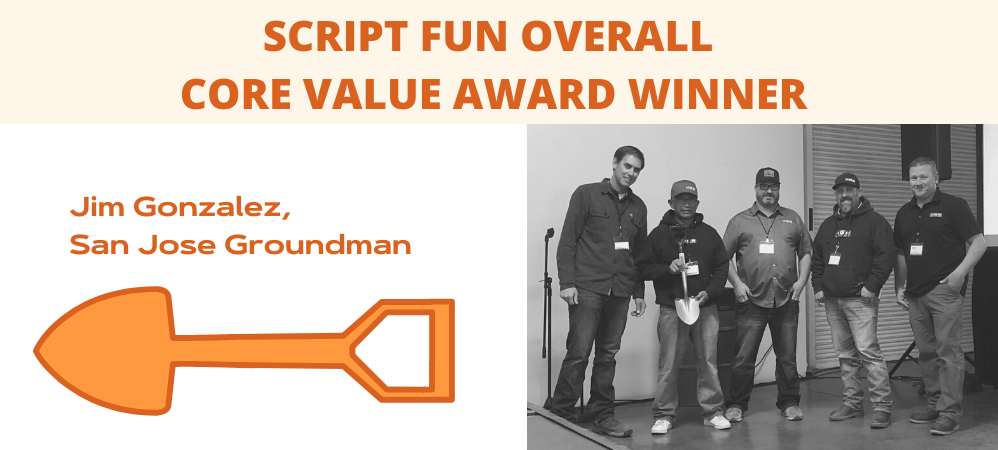 SCRIPT FUN Overall Core Value Award Winner