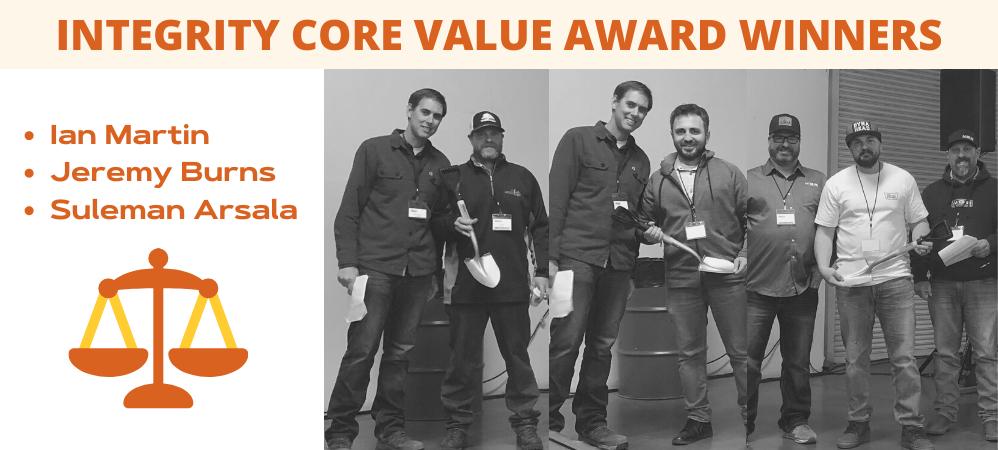 Integrity Core Value Award Winners