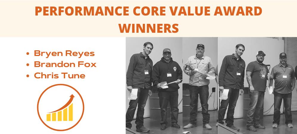 Performance Core Value Award Winners